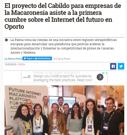 The Cabildo project for companies of the Macaronesia attends the first summit on the Internet of the future in Porto – El Diario